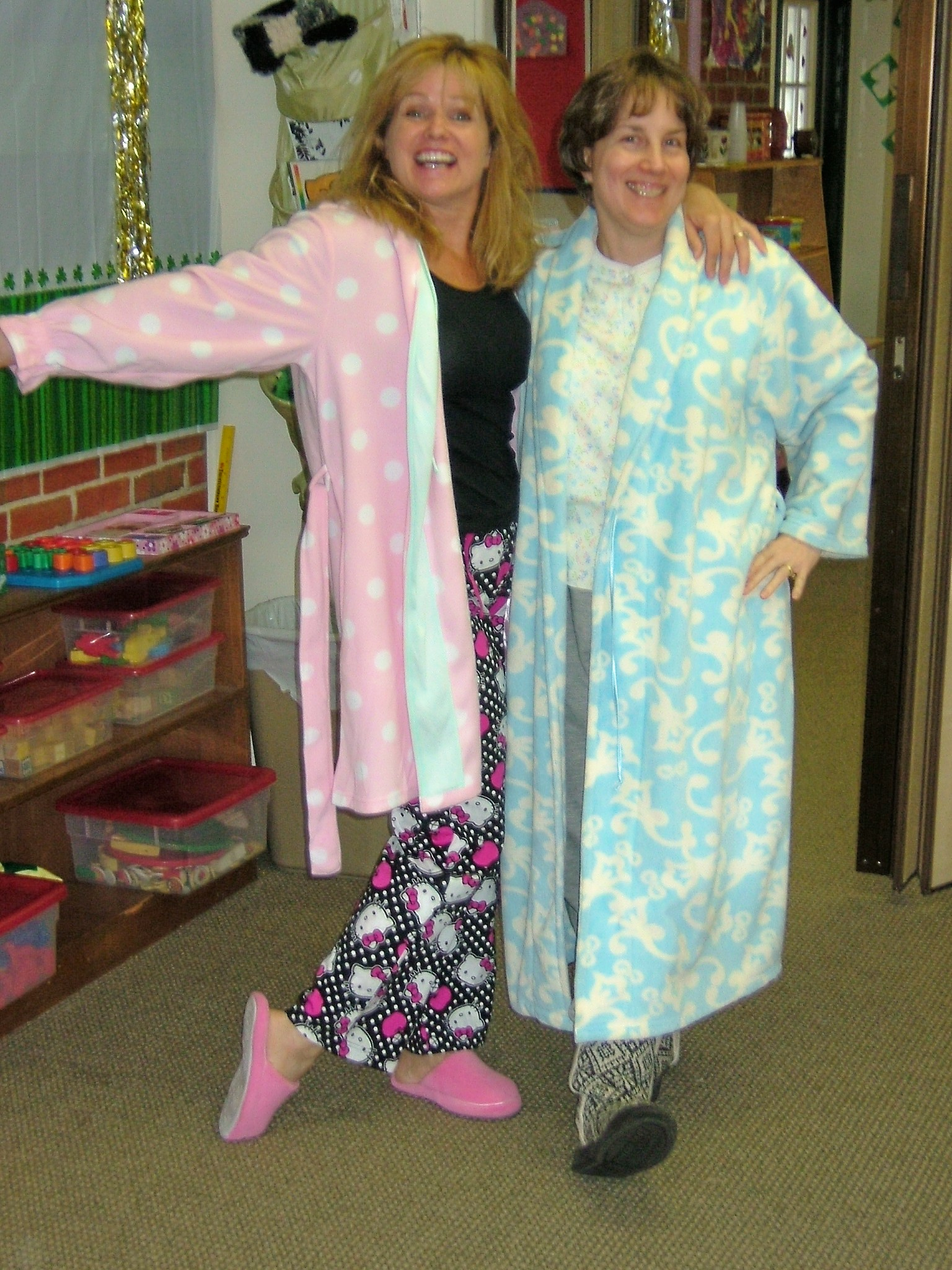 Staff in pajamas for Pajama Day